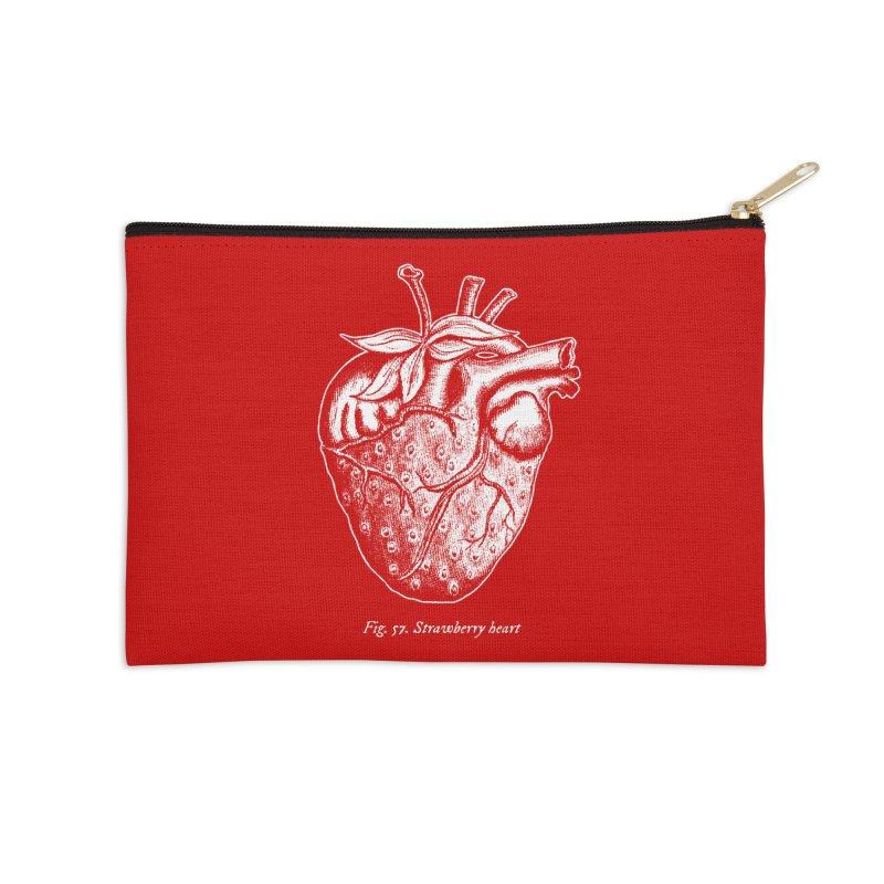 Strawberry Heart White Accessories Accessories Zip Pouch by Urban Prey's Artist Shop