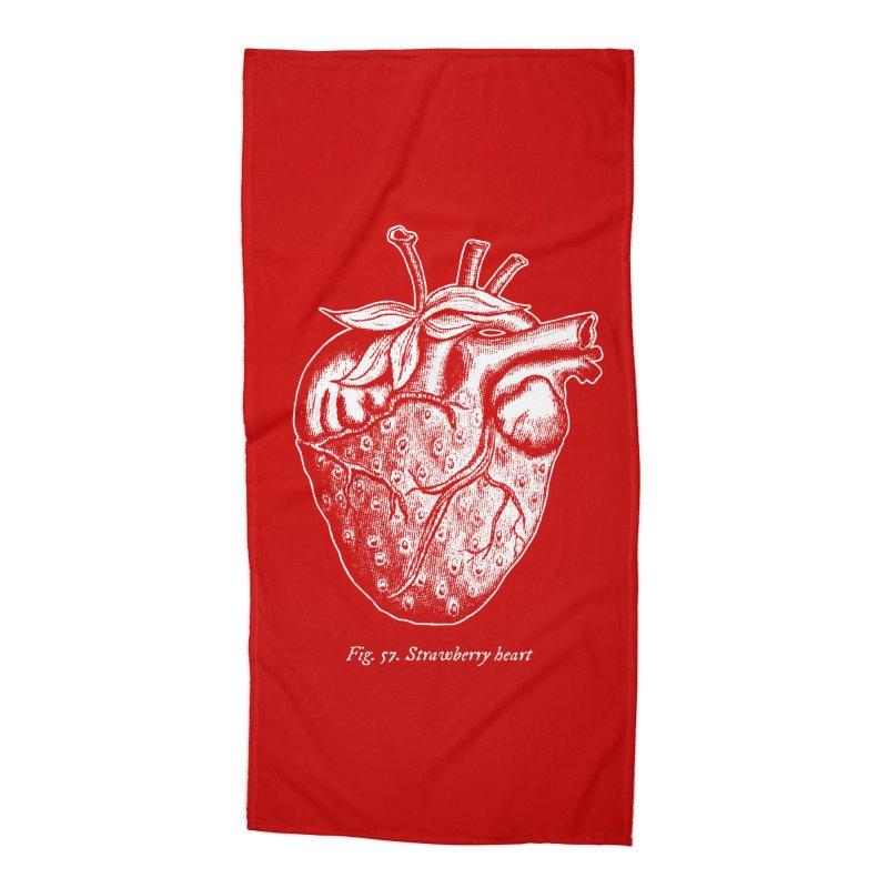 Strawberry Heart White Accessories Accessories Beach Towel by Urban Prey's Artist Shop