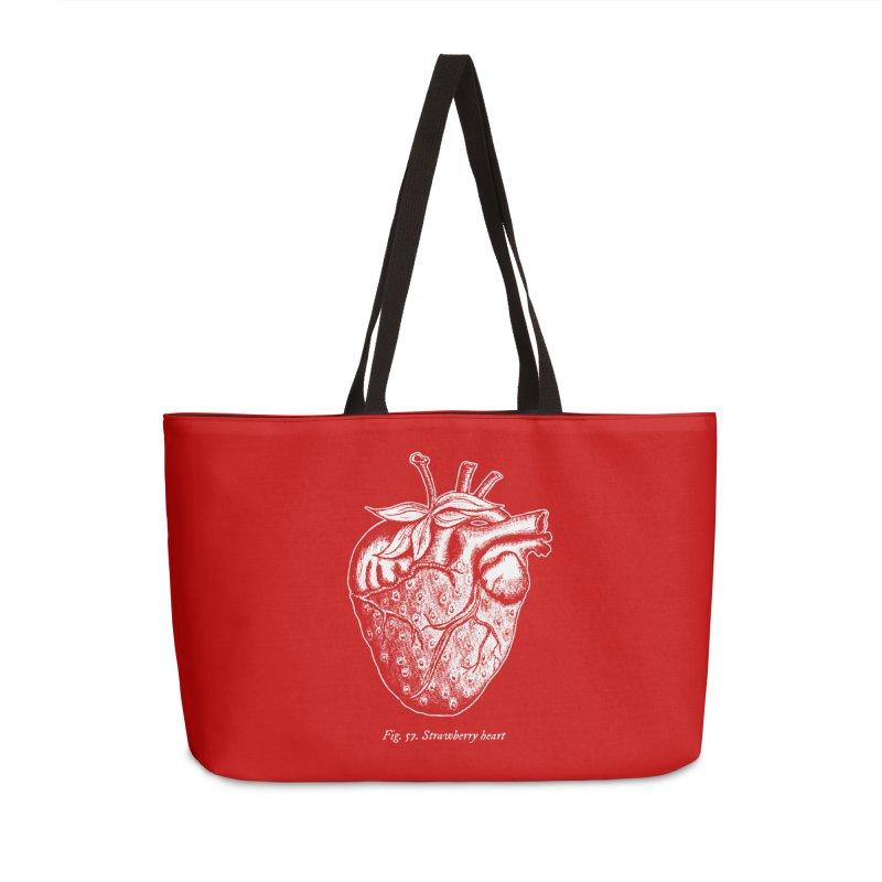 Strawberry Heart White Accessories Accessories Weekender Bag Bag by Urban Prey's Artist Shop