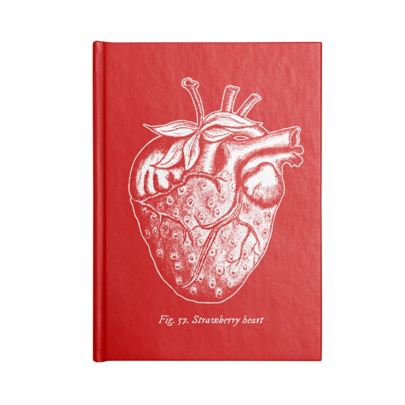 Strawberry Heart White Accessories Accessories Notebook by Urban Prey's Artist Shop