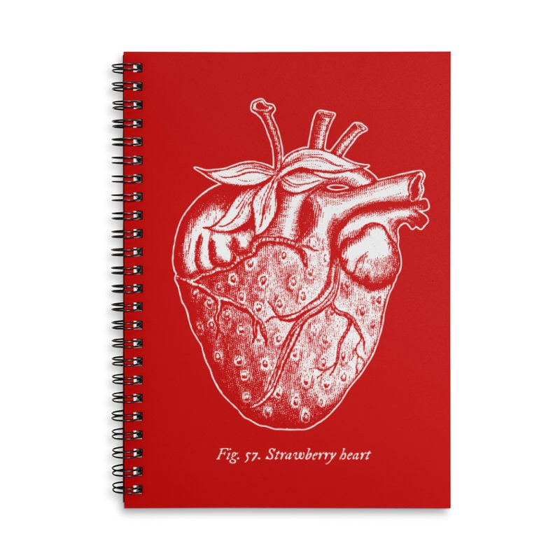 Strawberry Heart White Accessories Accessories Lined Spiral Notebook by Urban Prey's Artist Shop