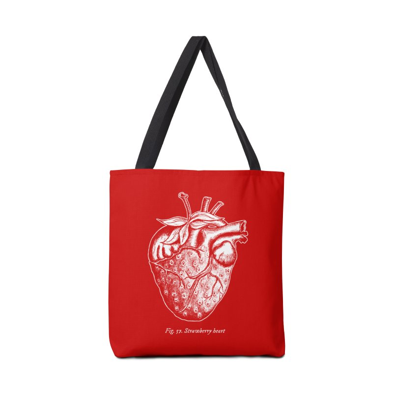 Strawberry Heart White Accessories Accessories Tote Bag Bag by Urban Prey's Artist Shop