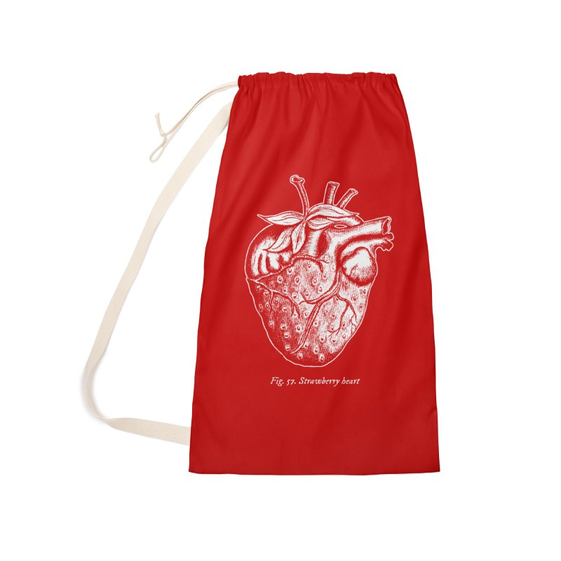 Strawberry Heart White Accessories Accessories Laundry Bag Bag by Urban Prey's Artist Shop