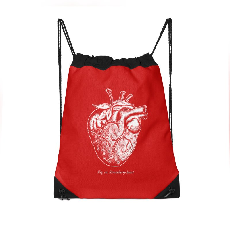 Strawberry Heart White Accessories Accessories Drawstring Bag Bag by Urban Prey's Artist Shop