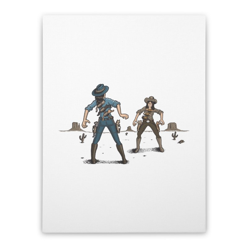 Catfight Home Stretched Canvas by Urban Prey's Artist Shop