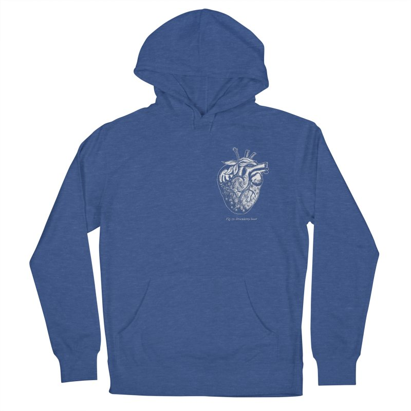 Strawberry Heart White Women's French Terry Pullover Hoody by Urban Prey's Artist Shop
