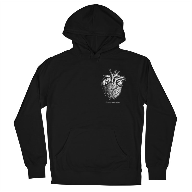 Strawberry Heart White Men's French Terry Pullover Hoody by Urban Prey's Artist Shop