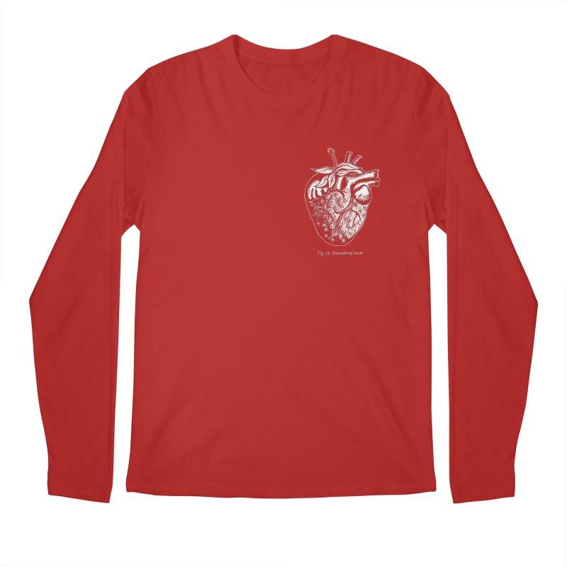 Strawberry Heart White Men's Longsleeve T-Shirt by Urban Prey's Artist Shop