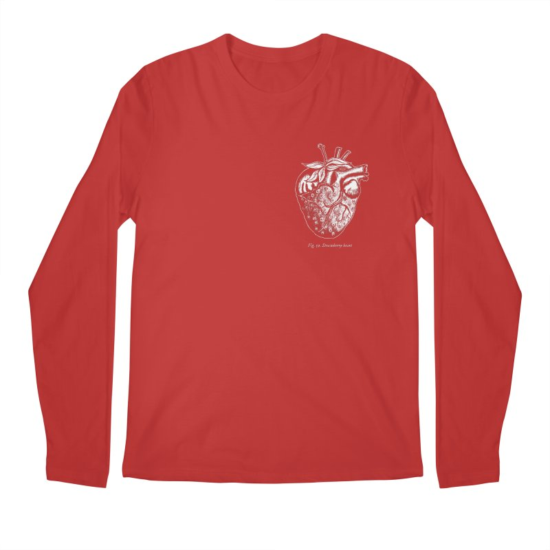Strawberry Heart White Men's Regular Longsleeve T-Shirt by Urban Prey's Artist Shop