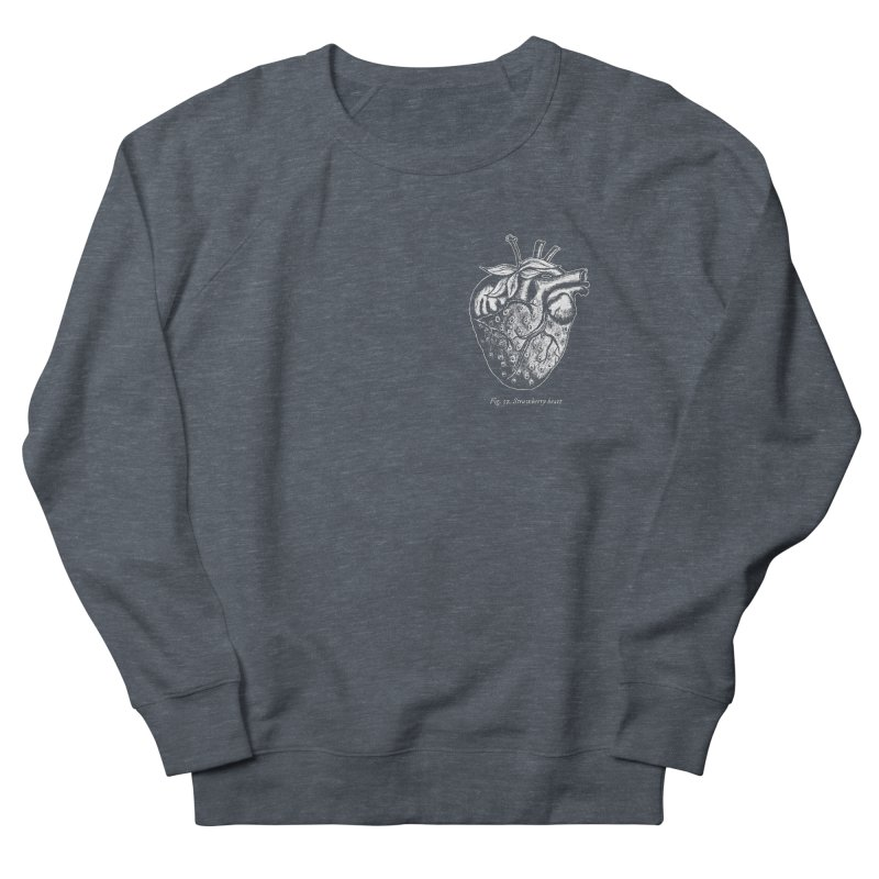 Strawberry Heart White Women's French Terry Sweatshirt by Urban Prey's Artist Shop