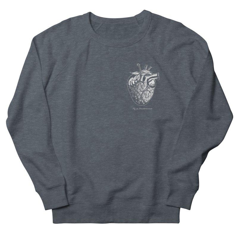 Strawberry Heart White Men's French Terry Sweatshirt by Urban Prey's Artist Shop