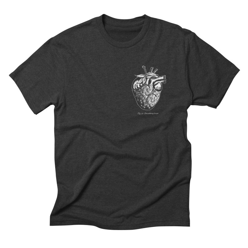 Strawberry Heart White Men's Triblend T-Shirt by Urban Prey's Artist Shop