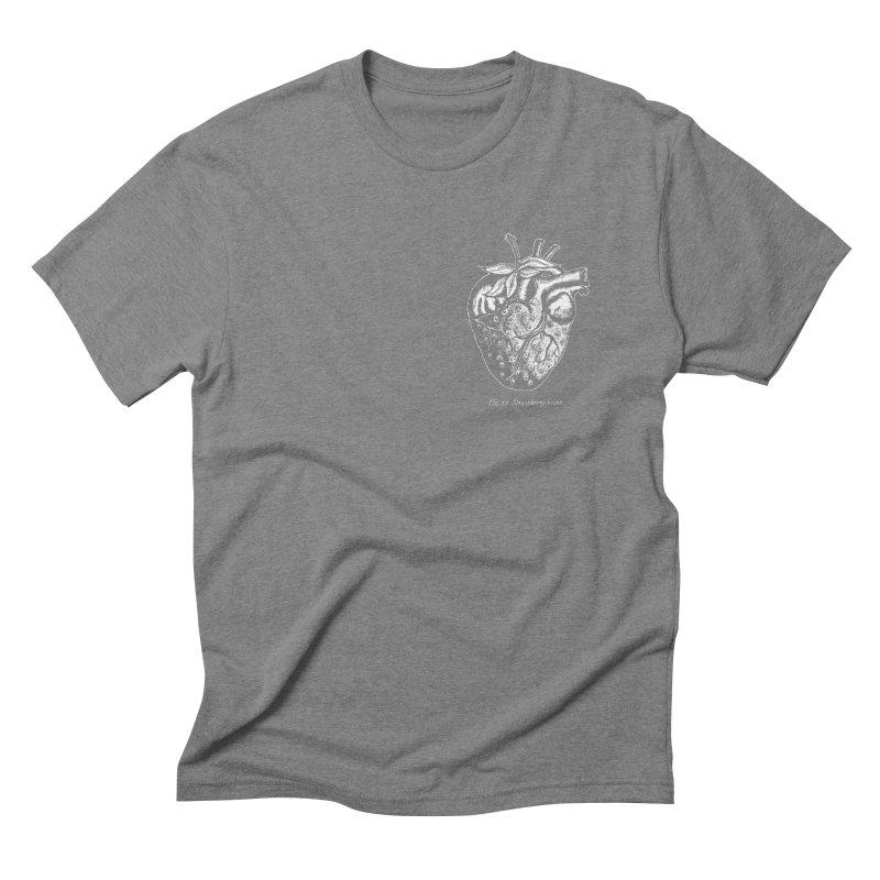 Strawberry Heart White Men's Triblend T-Shirt by Urban Prey's Artist Shop