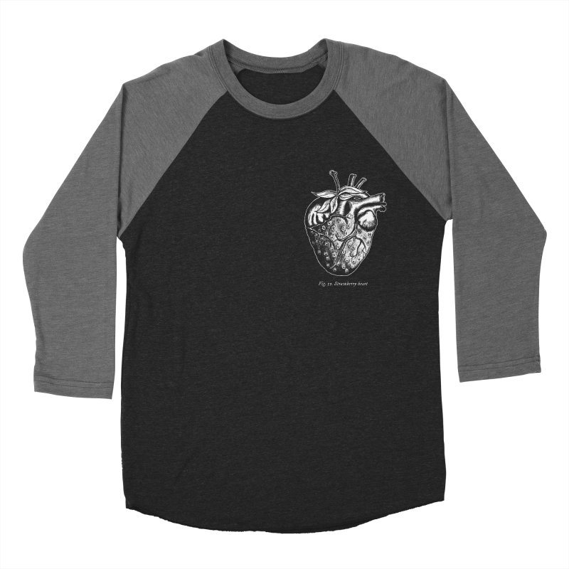 Strawberry Heart White Men's Baseball Triblend Longsleeve T-Shirt by Urban Prey's Artist Shop