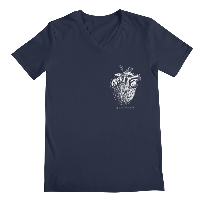Strawberry Heart White Men's Regular V-Neck by Urban Prey's Artist Shop