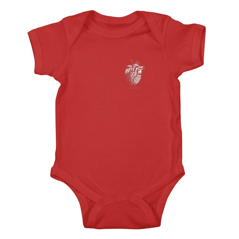 Strawberry Heart White Kids Baby Bodysuit by Urban Prey's Artist Shop