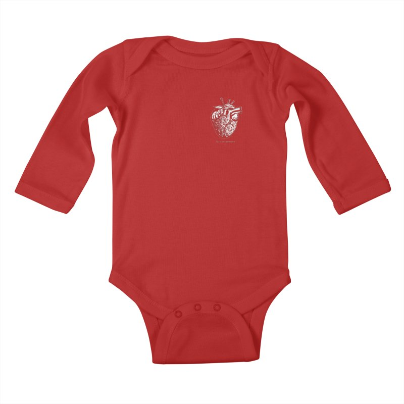 Strawberry Heart White Kids Baby Longsleeve Bodysuit by Urban Prey's Artist Shop