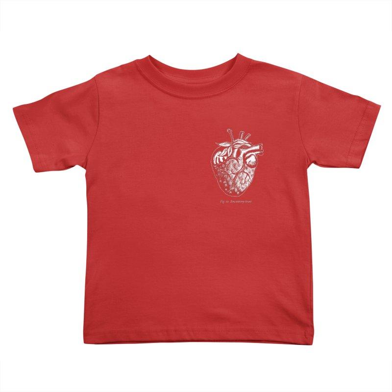 Strawberry Heart White Kids Toddler T-Shirt by Urban Prey's Artist Shop