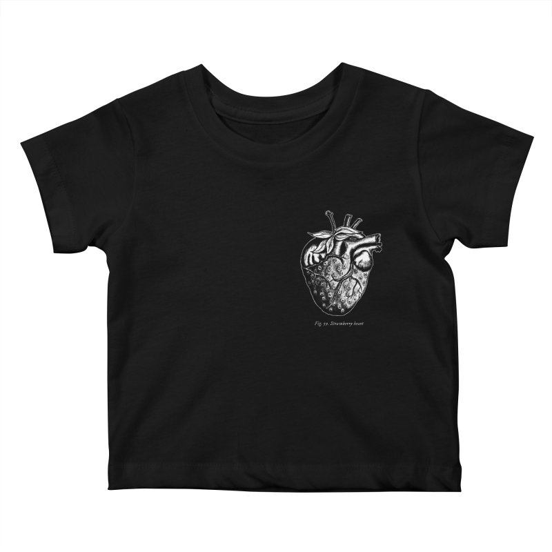 Strawberry Heart White Kids Baby T-Shirt by Urban Prey's Artist Shop