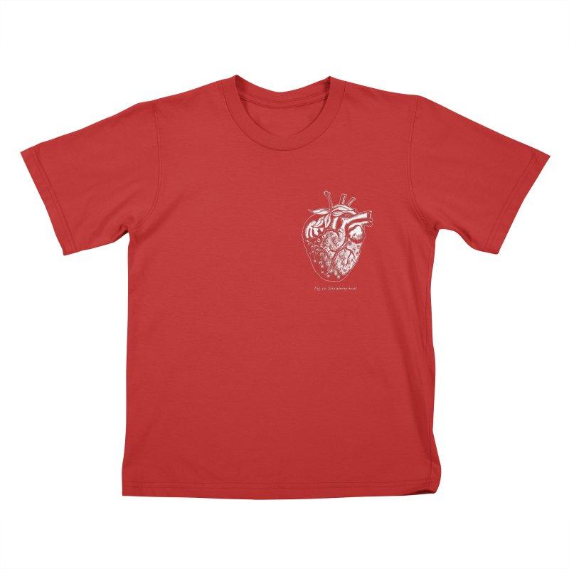 Strawberry Heart White Kids T-Shirt by Urban Prey's Artist Shop