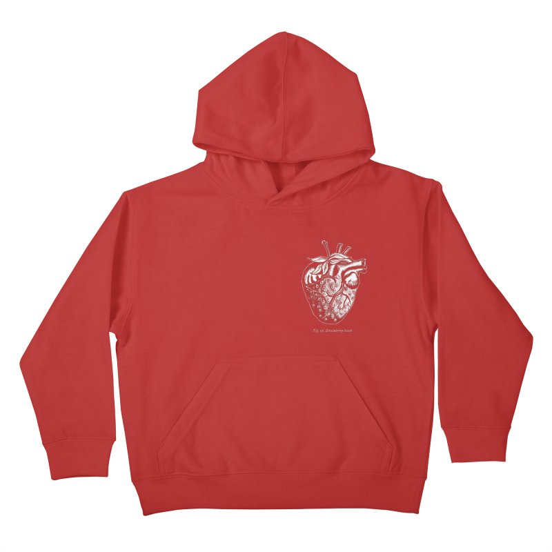 Strawberry Heart White Kids Pullover Hoody by Urban Prey's Artist Shop