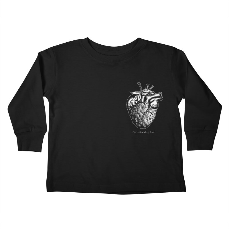 Strawberry Heart White Kids Toddler Longsleeve T-Shirt by Urban Prey's Artist Shop