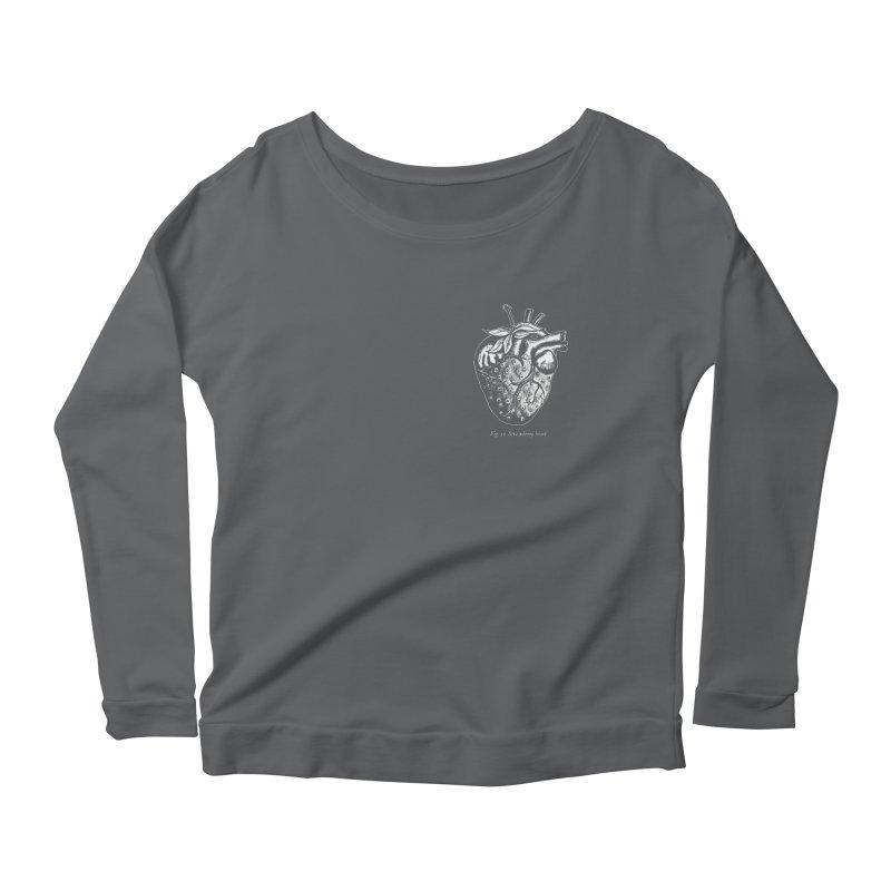 Strawberry Heart White Women's Scoop Neck Longsleeve T-Shirt by Urban Prey's Artist Shop