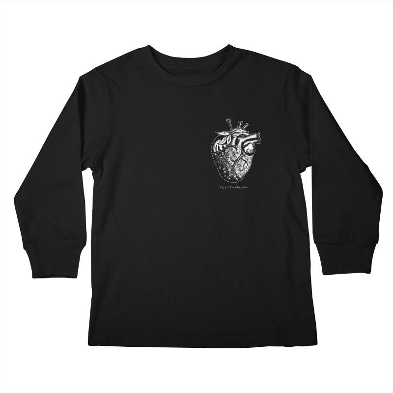 Strawberry Heart White Kids Longsleeve T-Shirt by Urban Prey's Artist Shop