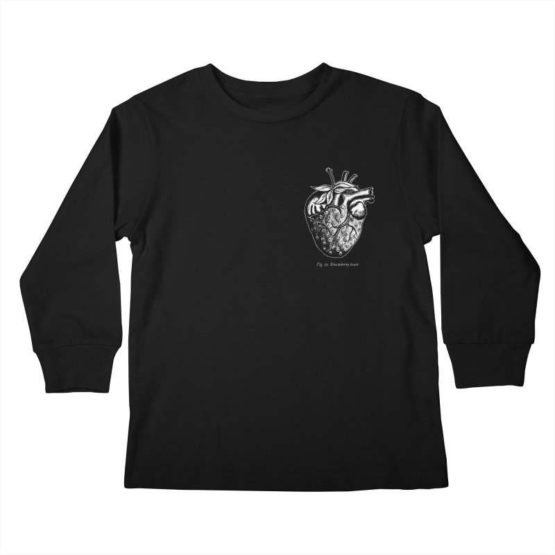 Strawberry Heart White Kids Longsleeve T-Shirt by Urban Prey's Artist Shop