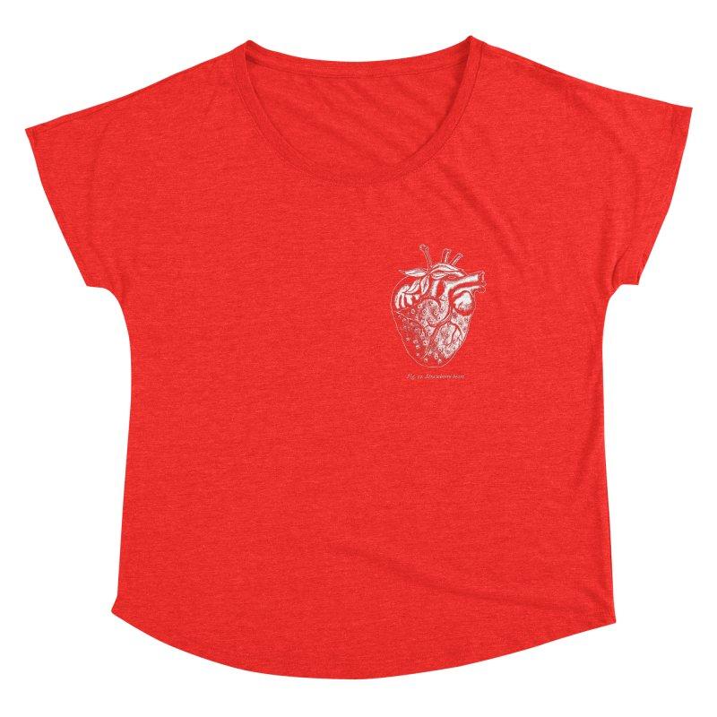 Strawberry Heart White Women's Scoop Neck by Urban Prey's Artist Shop