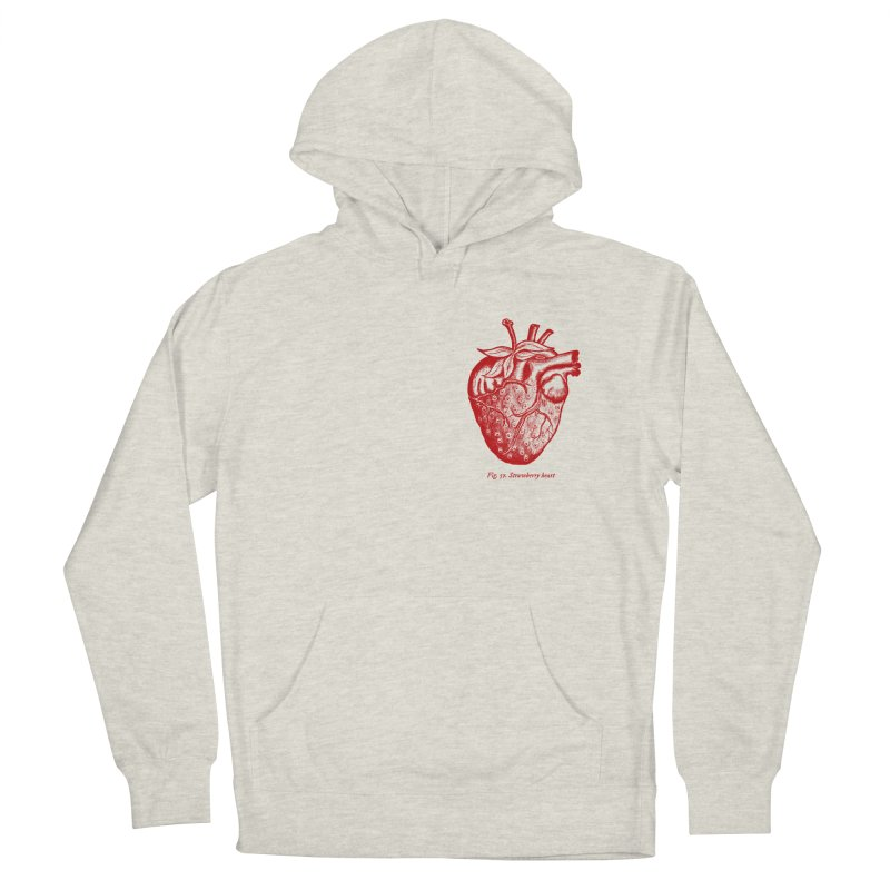 Strawberry Heart Red Men's French Terry Pullover Hoody by Urban Prey's Artist Shop
