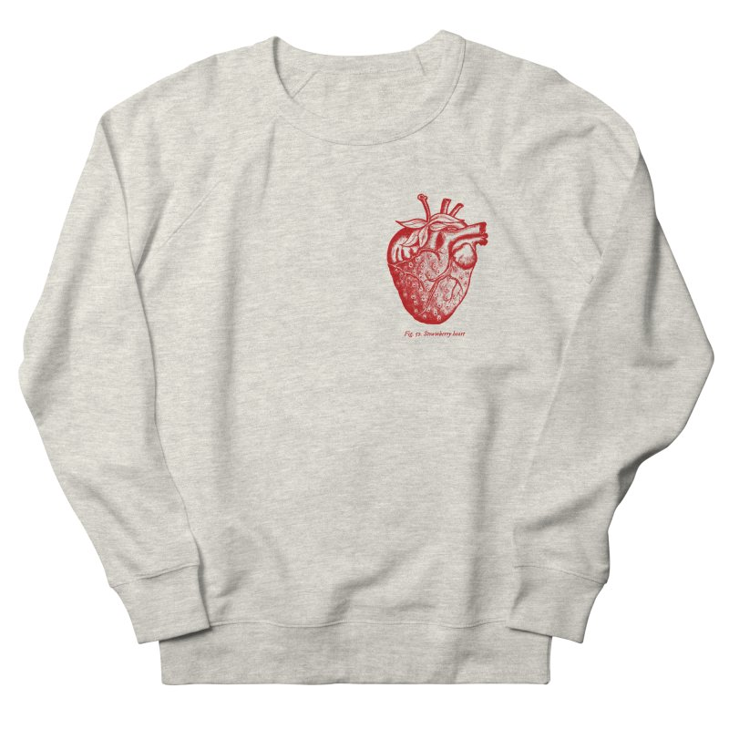 Strawberry Heart Red Women's French Terry Sweatshirt by Urban Prey's Artist Shop