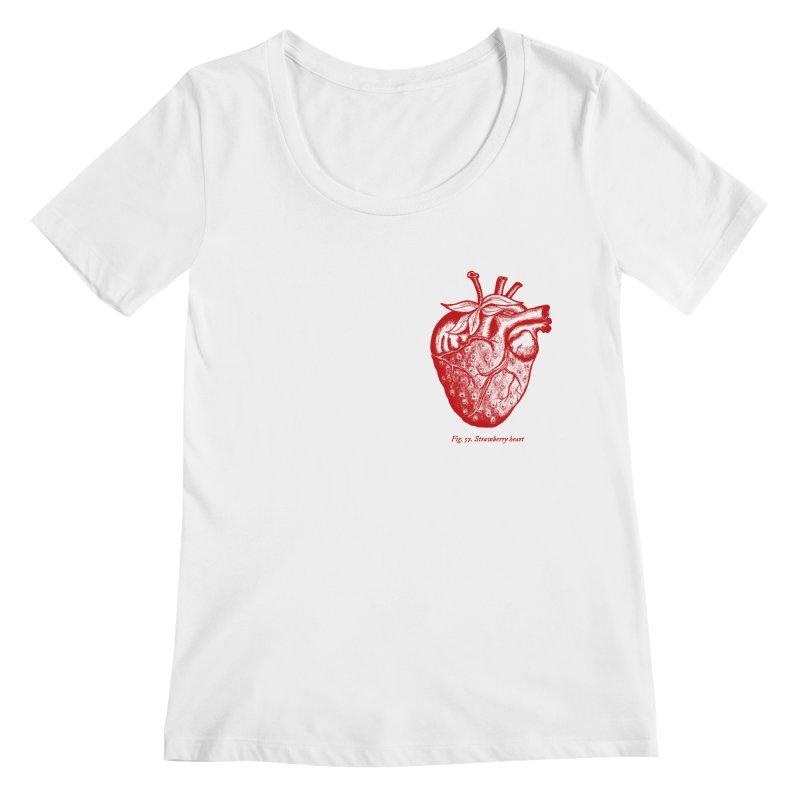 Strawberry Heart Red Women's Regular Scoop Neck by Urban Prey's Artist Shop
