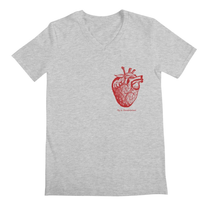 Strawberry Heart Red Men's V-Neck by Urban Prey's Artist Shop