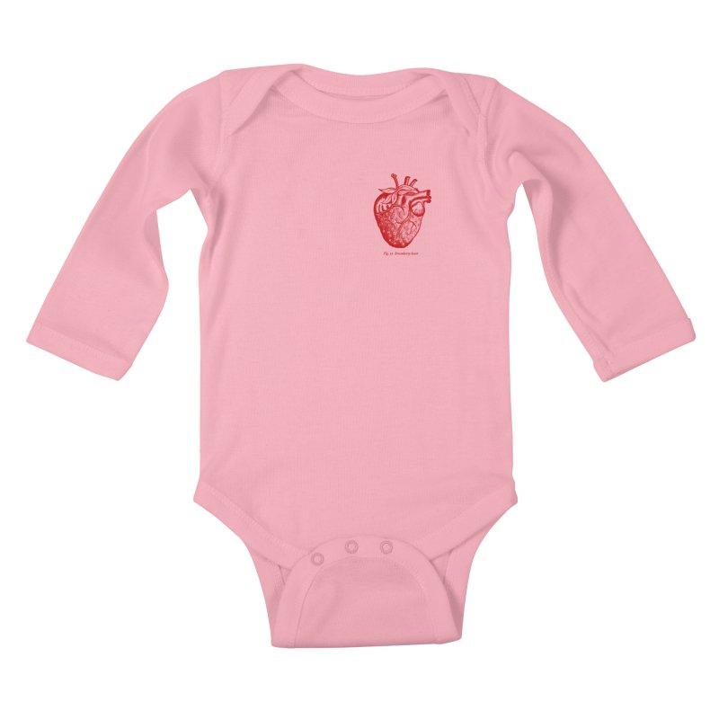 Strawberry Heart Red Kids Baby Longsleeve Bodysuit by Urban Prey's Artist Shop
