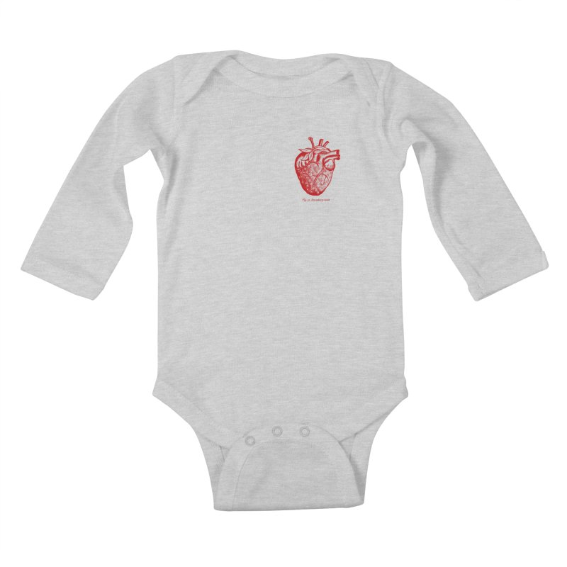 Strawberry Heart Red Kids Baby Longsleeve Bodysuit by Urban Prey's Artist Shop