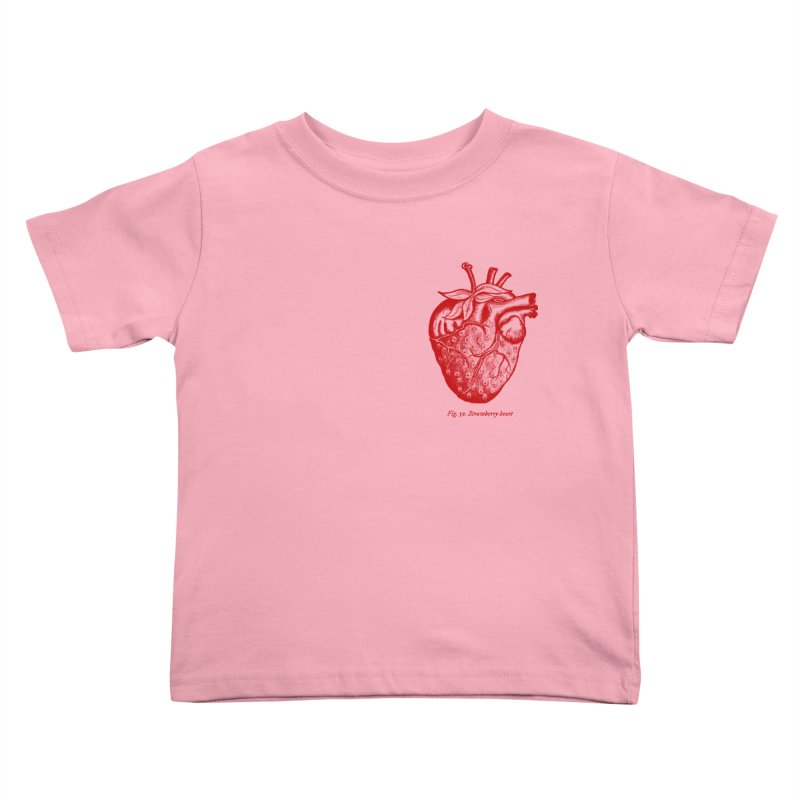 Strawberry Heart Red Kids Toddler T-Shirt by Urban Prey's Artist Shop