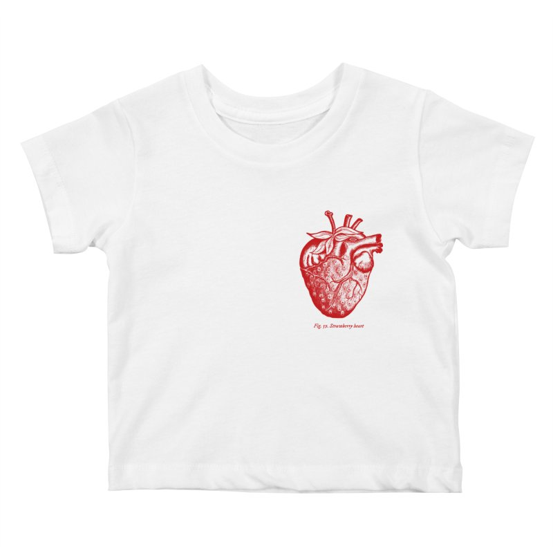 Strawberry Heart Red Kids Baby T-Shirt by Urban Prey's Artist Shop