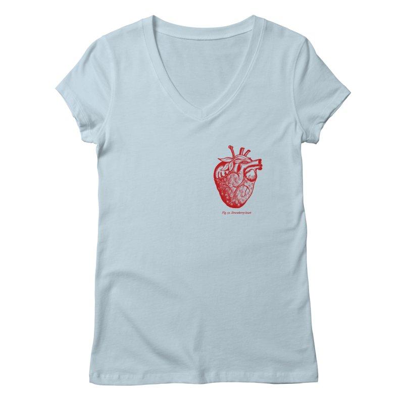 Strawberry Heart Red Women's V-Neck by Urban Prey's Artist Shop