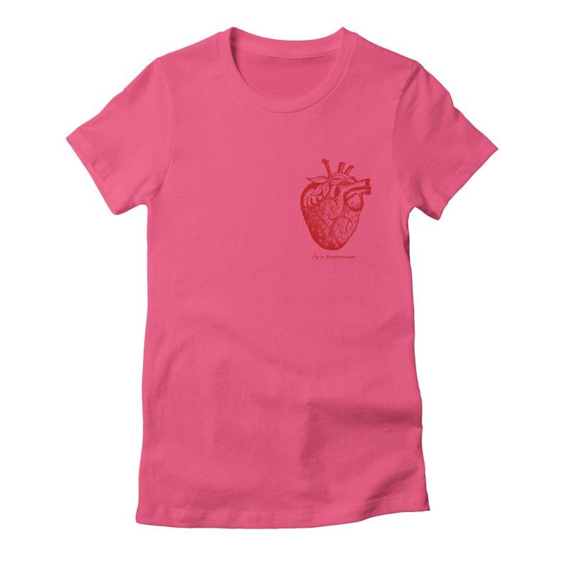 Strawberry Heart Red Women's T-Shirt by Urban Prey's Artist Shop