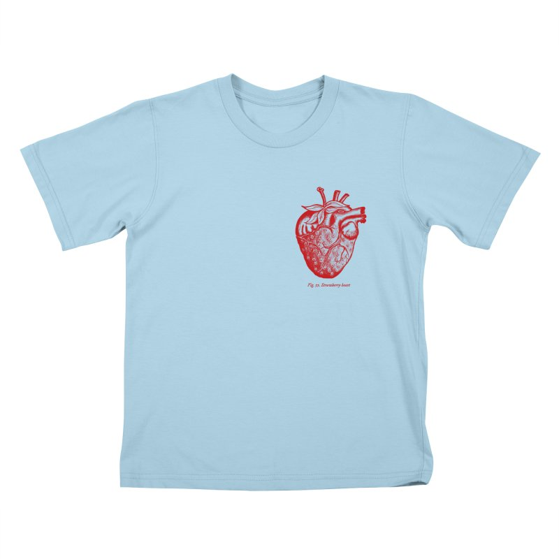 Strawberry Heart Red Kids T-Shirt by Urban Prey's Artist Shop