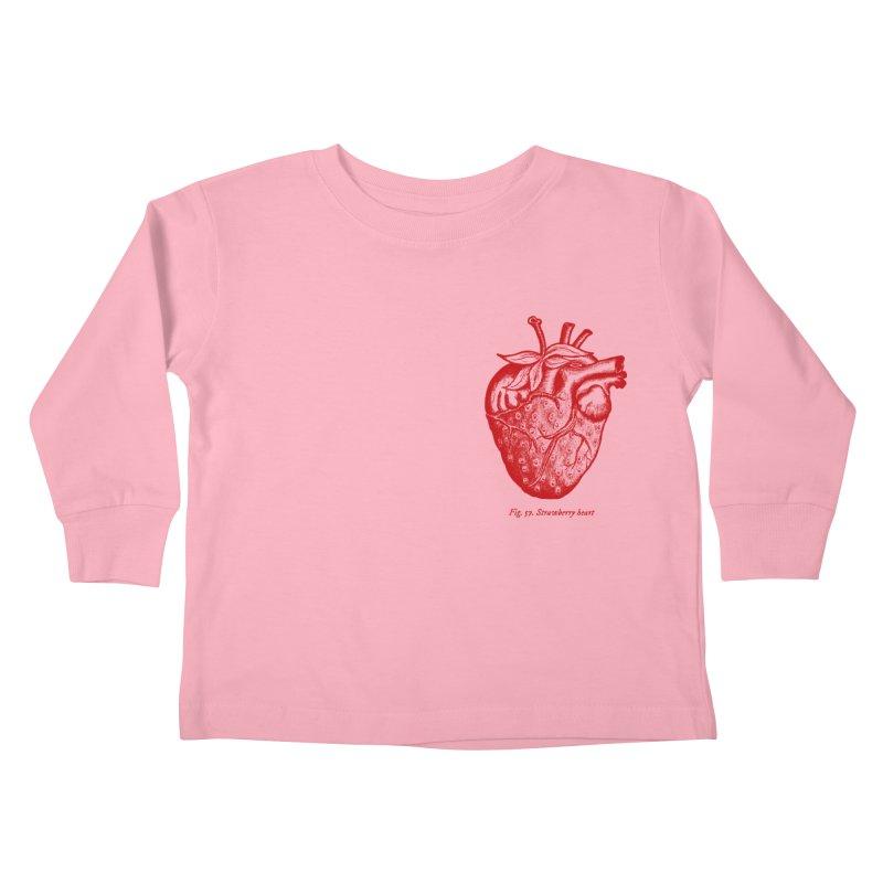 Strawberry Heart Red Kids Toddler Longsleeve T-Shirt by Urban Prey's Artist Shop