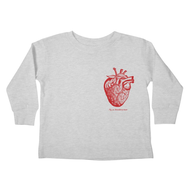 Strawberry Heart Red Kids Toddler Longsleeve T-Shirt by Urban Prey's Artist Shop