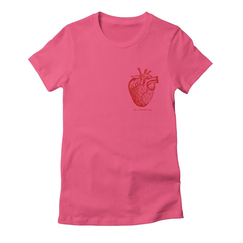 Strawberry Heart Red Women's Fitted T-Shirt by Urban Prey's Artist Shop