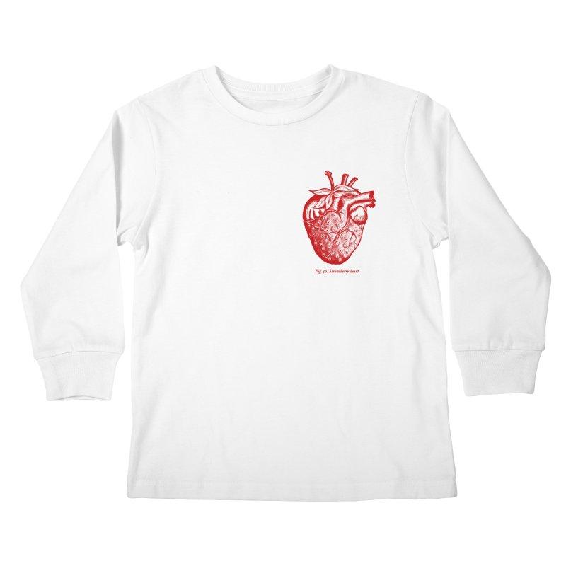 Strawberry Heart Red Kids Longsleeve T-Shirt by Urban Prey's Artist Shop