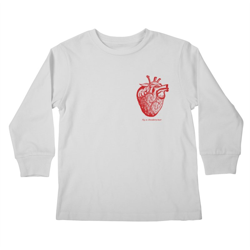 Strawberry Heart Red Kids Longsleeve T-Shirt by Urban Prey's Artist Shop