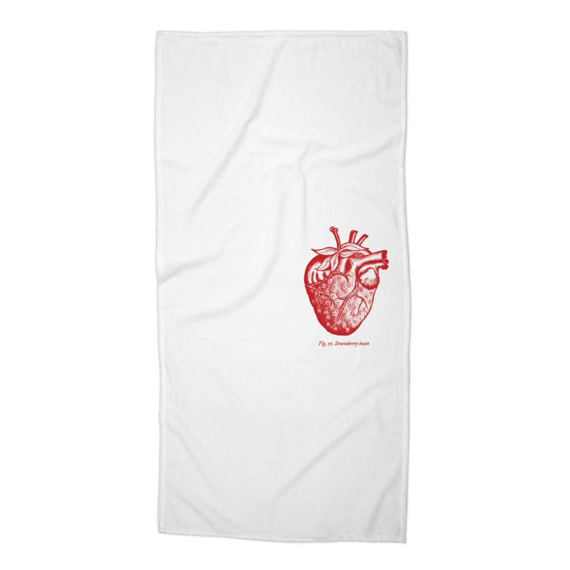 Strawberry Heart Red Accessories Beach Towel by Urban Prey's Artist Shop