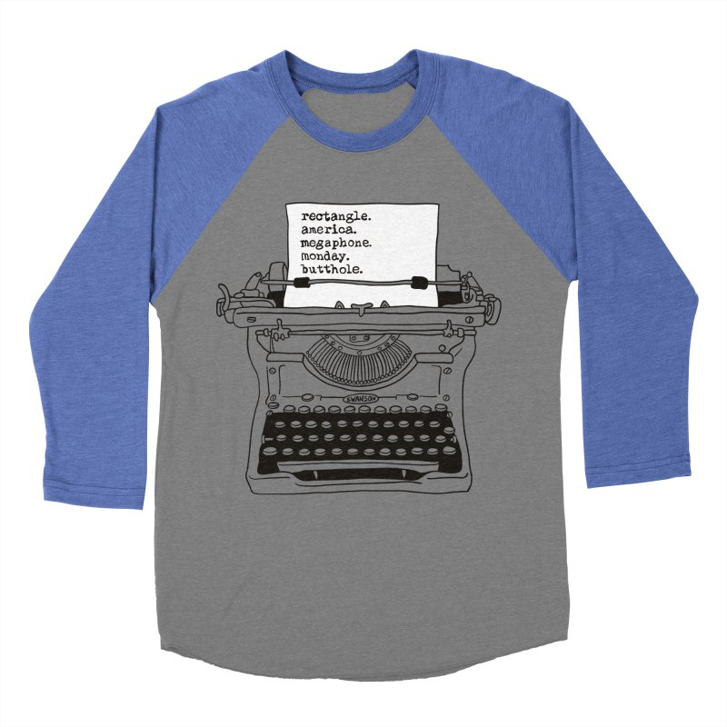 Typewriter Men's Baseball Triblend Longsleeve T-Shirt by Urban Prey's Artist Shop