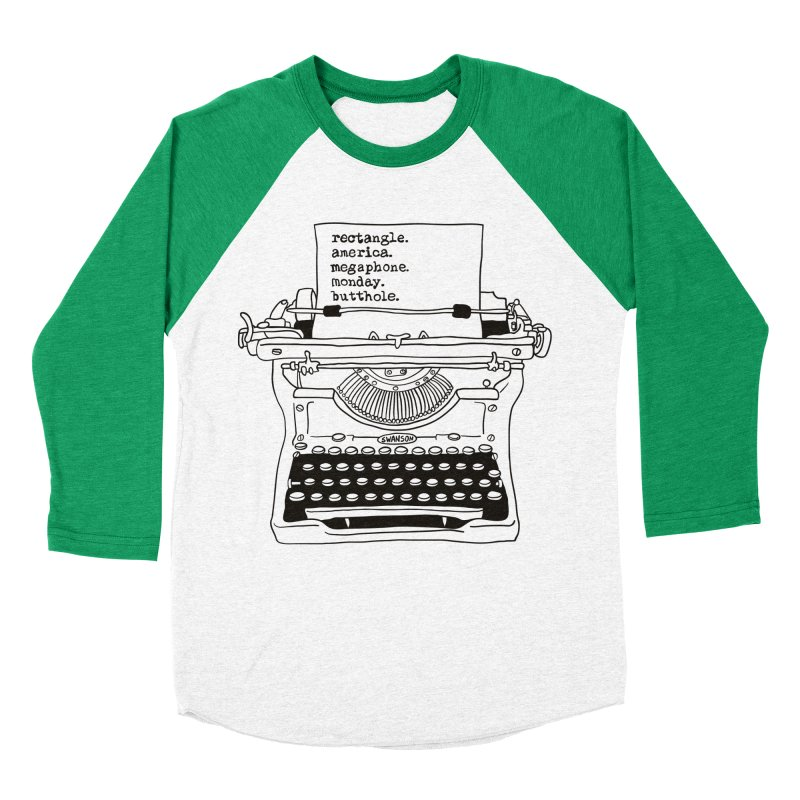 Typewriter Men's Baseball Triblend T-Shirt by Urban Prey's Artist Shop