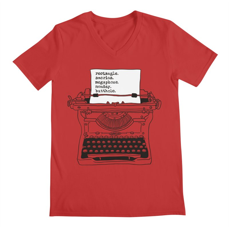 Typewriter Men's V-Neck by Urban Prey's Artist Shop